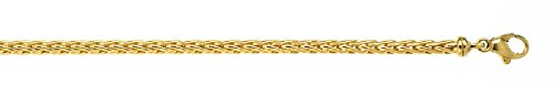 - 18k Yellow Gold 3.1mm Wheat Chain Bracelet - 7.5