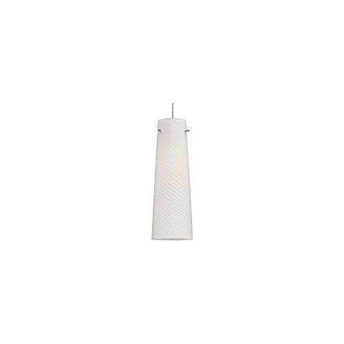 ET2 Lighting Mini Pendant with White Spiral Glass Shade, Satin Nickel Finish ()
