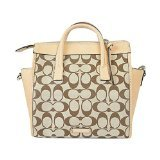 COACH Bleecker Preston Mini Riley Carryall in Signature Printed Fabric; Silver, Light Khaki, Madeira, Vachetta 30168
