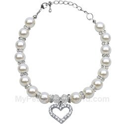 Mirage Pet Products 10 to 12-Inch Heart and Pearl Necklace, Large, White