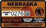 "Nebraska NE Bigfoot Hunting Permit 2.4"" x 4"" Decal Sticker"