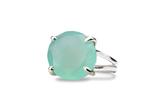 Stunning Handmade 925 Sterling Silver Turquoise Gemstone Round Stone Ring Boxed
