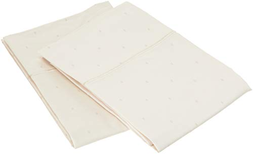 - Charisma 310 Thread Count Classic Dot Cotton Sateen King Pillowcase Pair in Almond Milk