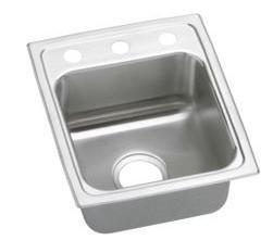 Lustertone 3 Hole - Elkay LR1517 Gourmet Lustertone Commercial Sink, Top Mount, Sink Only, 7