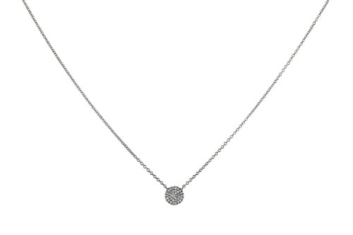 6.5mm Round Disc Charm with 0.08ct Pave Diamonds in 14K Gold Chain Necklace - 18