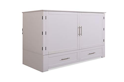 Emurphybed Daily Delight Murphy Cabinet Chest Bed with Charging Station & Gel-Infused Mattress, Queen, White
