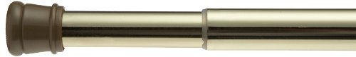 Carnation Home Fashions Adjustable 41-to-72-Inch Steel Shower Curtain Tension Rod, (Brass Shower Curtain Rod)