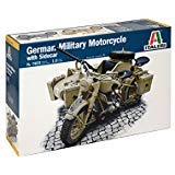 Italeri 7403 German Military Motorcycle with Side Car - 1/9 Scale Military Motorcycle Model Kits