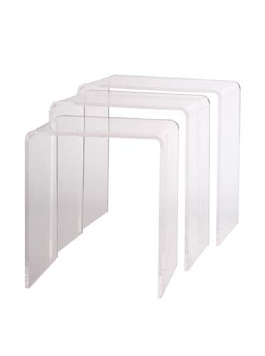 Pure Dcor Pure Decor Acrylic Nesting Tables, Set of 3, 18hx17wx11.5, Clear by Pure Dcor