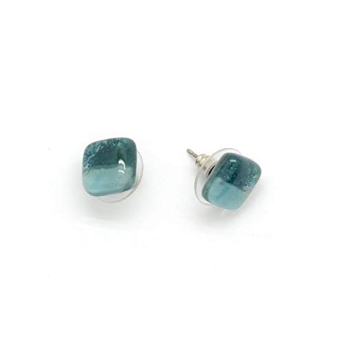 Fused Glass Ring Blue - Small Square Fused Glass Stud Earrings - Ocean Blue. Fair Trade.