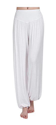 (ARJOSA Women's Cotton Spandex Wide Leg Lounge Harem Yoga Pants (L, White))