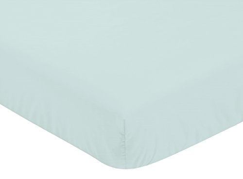 Sweet Jojo Designs Solid Aqua Blue Baby or Toddler Fitted Crib Sheet for Mountains Collection by (Aqua Crib Sheet)