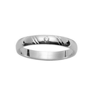 1001 Bijoux - Alliance argent rhodié jonc 3mm strie biais 1 diamant 0,02 carat