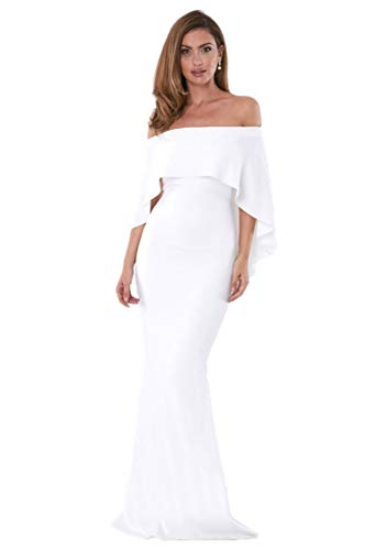 - Women's Off The Shoulder Mermaid Formal Evening Gown Batwing Cape Party Dress Long-White S