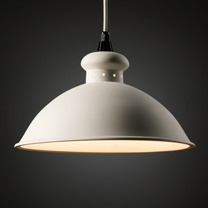 (Justice Design CER-6300-TERA-WTCD Oriel Pendant, Choose Finish: Terra Cotta Finish (Smooth Faux), Cord Options: White Cord, Choose Lamping Option: Standard Lamping)