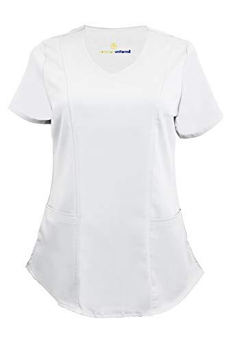 Natural Uniforms Women's Soft Modern Fit Mock Wrap Scrub Top (White, -
