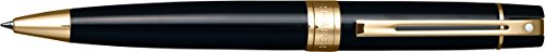 (Sheaffer 300 Glossy Black Ballpoint Pen with Gold Tone Trim)