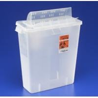 Kendall IN-ROOM Sharps Container with Always-Open Lids, 5 Quart, Transparent Red