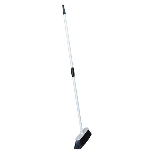 Harbour Housewares White Soft Bristle Household Broom - 129cm (h) with a 32cm broom (Soft Silver Collapsible)