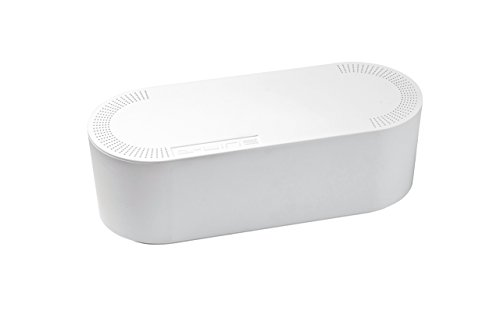 Exit Tray Unit (D-Line Cable Management Box | Hide and conceal messy power strips and electrical cords behind TVs, desks, computers, and gaming consoles | Large, White | US/CTULGEW/SW)