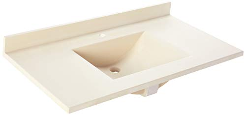 Swan CV02243.037 Contour Solid Surface Single-Bowl Vanity Top 43-in L X 22-in H X 6.25-in H Bone ()
