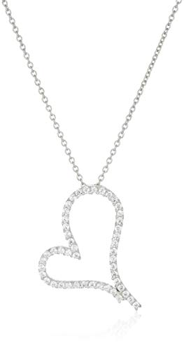 Art and Molly Sterling Silver Open Heart Pendant Necklace with Cubic ()