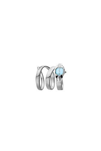 Just Cavalli Women's JC1L022M0015 Ice Blue Dial with Silver Stainless-Steel Band Watch.