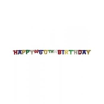 Creative Converting Party Decoration Jointed Banner, Happy 60th Birthday, 6-Feet (Happy Birthday Halloween Message)