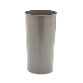 Round Wastebasket, Steel, 20gal, Charcoal Steel 20 Gallon Charcoal