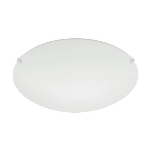 EGLO plafondlamp MARS, 1 lichtbron wandlamp, stalen plafondlamp, kleur: wit, glas: wit gesatineerd, fitting: E27
