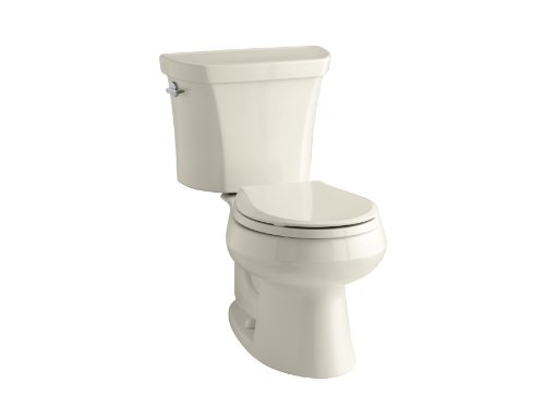 KOHLER K-3987-47 Wellworth Two-Piece Round-Front Dual-Flush Toilet with Class Five Flush System and Left-Hand Trip Lever, -