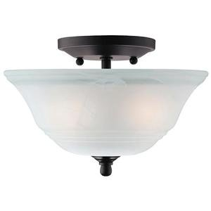 "Westinghouse 66223 - 2 Light (Medium Screw Base) 10.2"" Wensley Semi Flush Oil Rubbed Bronze Finish with White Alabaster Glass Ceiling Light Fixture"
