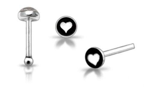 1x 22g 6mm .925 Sterling Silver White Heart Nose Ring Bone Stud Pin Bar