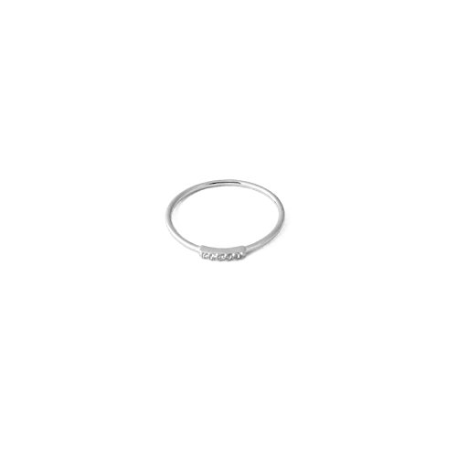 HONEYCAT Mini Crystal Row Ring in Sterling Silver Plate | Minimalist, Delicate Jewelry (Silver 5)