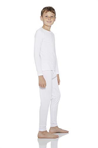 Kids Thermal Knit Top - Rocky Boy's Smooth Knit Thermal Underwear 2PC Set Long John Top and Bottom Pajamas (White, XS)