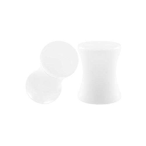 BIG GAUGES Pair White Acrylic 2g Gauge 6mm Double Flare Piercing Jewelry Ear Stretcher Plugs Lobe Earring BG0436 ()