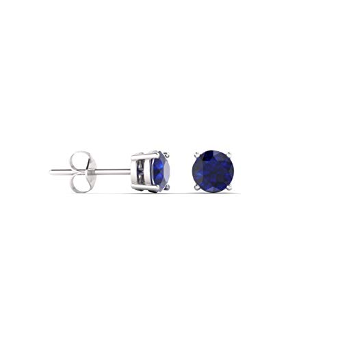 Diamondere Natural and Certified Blue Sapphire Solitaire Stud Earrings for Women in 14K White Gold | 0.20 Carat Earrings for Women