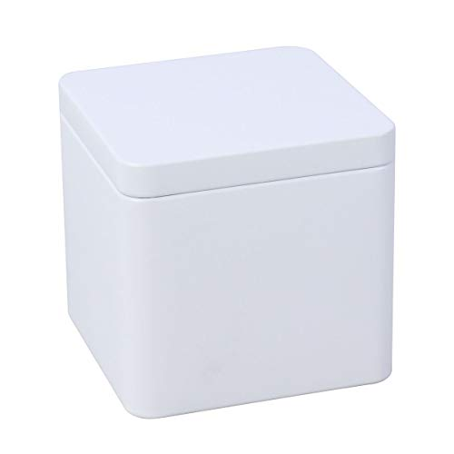 Yardwe Metal Tins with Lid Square Metal Boxes Case Gift Container for Tea Candles Candies Balms Treasures (Matte White)