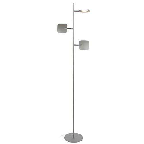 Brightech Tree Led Floor Lamp- Classy Modern Tall Pole Standing Industrial 3 Light, 3 Head Lamp– Dimmable & Adjustable Omnidirectional Energy Saving Lights for Living Room Office Dorm Bedroom- Silver - Adjustable Shaded Floor Lamp