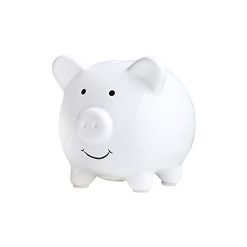 - Vosarea Ceramic Piggy Bank Cute Coin Bank Coin Money Safe Box Kids Gifts (White)