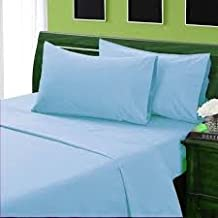 Cotton -Sateen Fitted Sheet With 18 Inch Deep Pocket , Egyptian Cotton Available In Queen / King / Full / Cal King / Twin / Twin XL Sizes , Sky Blue Solid Color (King)