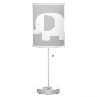 White Modern Elephant with Gray and White Trim Desk Lamp