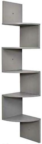 5Tier Corner Shelf Wall Mount Zig Zag Storage Rack Shelves Floating Display Gray