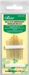 Bulk Buy: Clover Gold Eye Embroidery Needles Size 3/9 16/Pkg 235-3/9 (12-Pack) Clover Needlecraft Inc.
