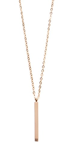 Happiness Boutique Bar Pendant Necklace in Rose Gold | Long Minimalist Rose Gold Necklace Stainless Steel Jewelry from Happiness Boutique