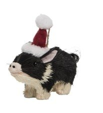 On Holiday Sisal Pig Black and White Wearing