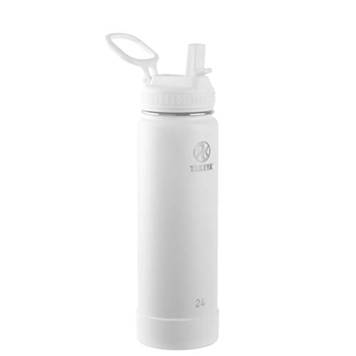 Takeya Actives Insulated Stainless Steel Water Bottle with Straw Lid, 24 oz, Arctic
