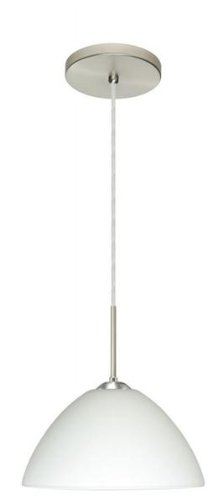 Besa Lighting 1JT-420107-LED-BR 1X6W GU24 Tessa LED Pendant with White Glass, Bronze Finish