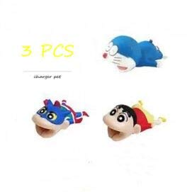 (Cartoon Animal Bite Cable Pet Protector-3 PCS (Doraemon,Crayon Shin-chan,Superman Crayon Shin-chan) Creative Cute Anime Charger Pet Saver Buddies (Compatible withiPhone,iPad Only).Gift for Friends and)