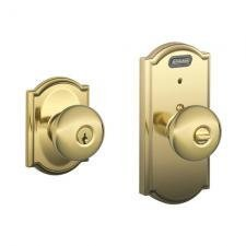 Schlage FE51PLY505CAM Lifetime Polished Brass Century Single Cylinder Keyed Entry Built-In Alarm Door Knob Set with Plymouth (Alarm Century Single)